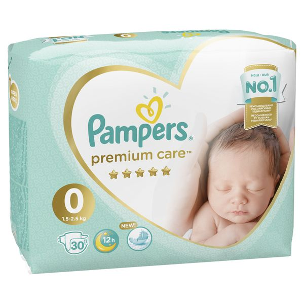 Подгузники Pampers Premium Care 0 (1.5-3кг), 30 штук